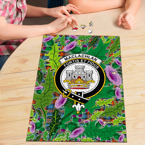 Image of MacLachlan Ancient Clan Crest Tartan Thistle Pattern Scotland Jigsaw Puzzle