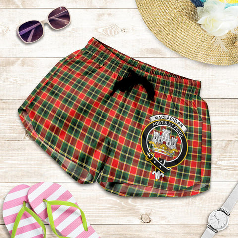 Image of MacLachlan Hunting Modern crest Tartan Shorts For Women
