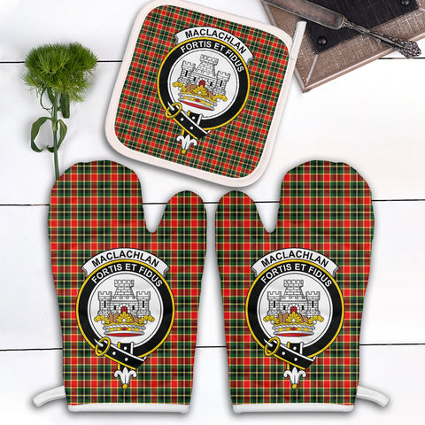 Image of MacLachlan Hunting Modern Clan Crest Tartan Scotland Oven Mitt And Pot-Holder (Set Of Two)