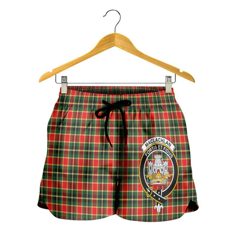 Image of MacLachlan Hunting Modern Crest Tartan Shorts For Women K7