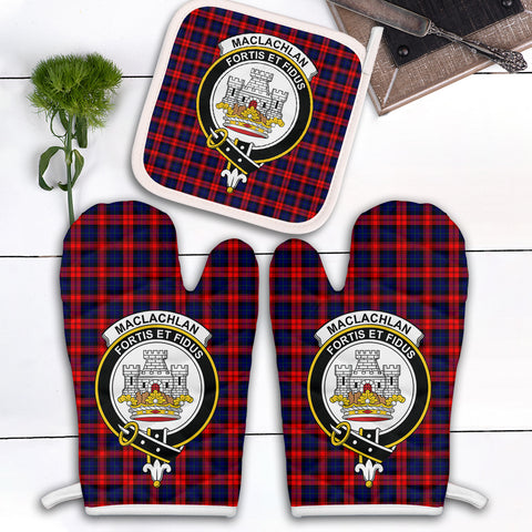 MacLachlan Modern Clan Crest Tartan Scotland Oven Mitt And Pot-Holder (Set Of Two)