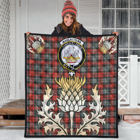 Image of MacLachlan Weathered Clan Crest Tartan Scotland Thistle Gold Royal Premium Quilt