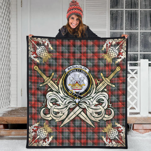 Image of MacLachlan Weathered Clan Crest Tartan Scotland Thistle Symbol Gold Royal Premium Quilt