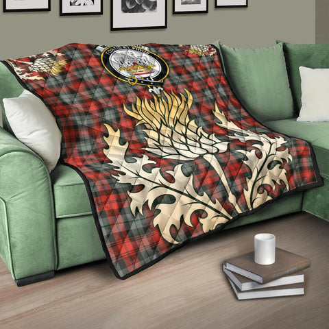 Image of MacLachlan Weathered Clan Crest Tartan Scotland Thistle Gold Royal Premium Quilt K9