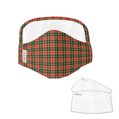 MacLachlan Hunting Modern Tartan Face Mask With Eyes Shield - Red & Green  Plaid Mask TH8