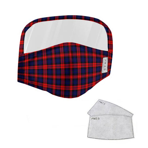 MacLachlan Modern Tartan Face Mask With Eyes Shield - Red & Blue  Plaid Mask TH8