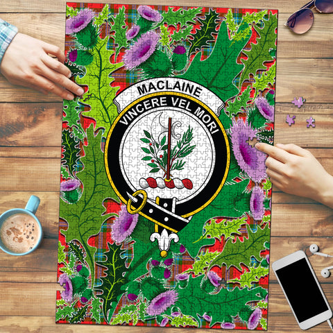 Image of MacLaine of Loch Buie Clan Crest Tartan Thistle Pattern Scotland Jigsaw Puzzle