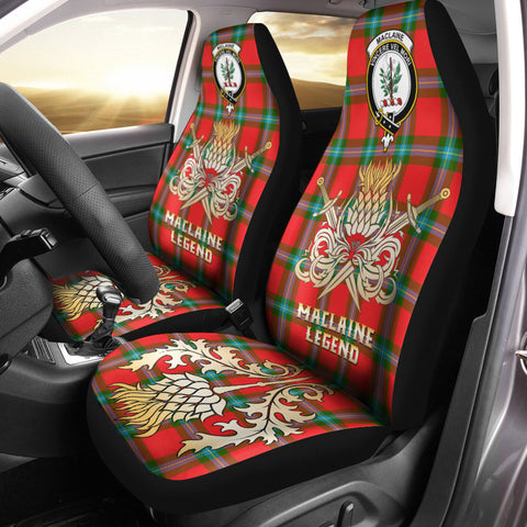 Car Seat Cover MacLaine of Loch Buie Clan Crest Gold Thistle Courage Symbol