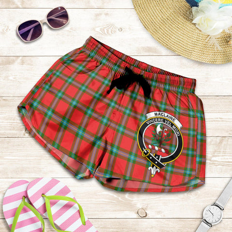 Image of MacLaine of Loch Buie crest Tartan Shorts For Women