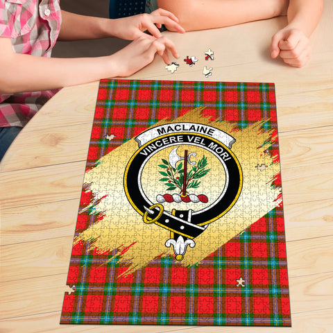 Image of MacLaine of Loch Buie Clan Crest Tartan Jigsaw Puzzle Gold