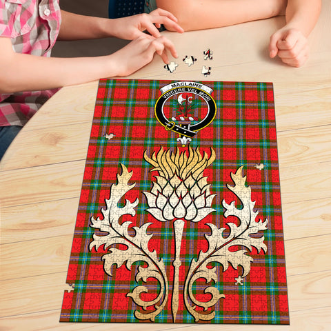 MacLaine of Loch Buie Clan Crest Tartan Thistle Gold Jigsaw Puzzle