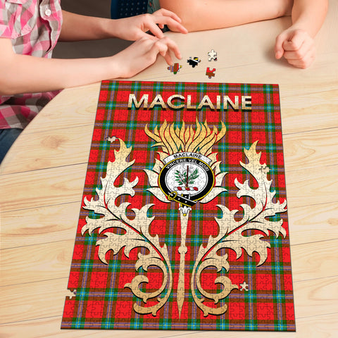 MacLaine of Loch Buie Clan Name Crest Tartan Thistle Scotland Jigsaw Puzzle