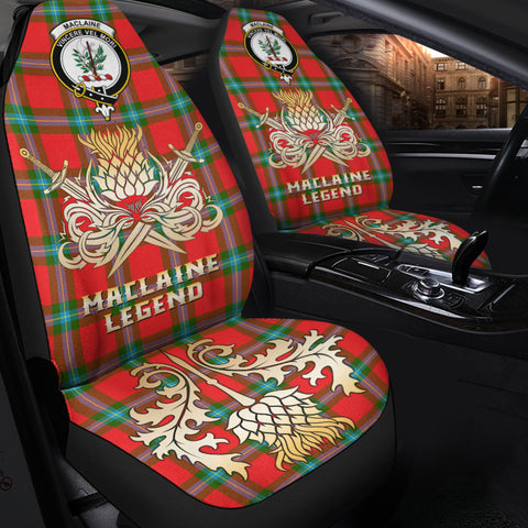 Car Seat Cover MacLaine of Loch Buie Clan Crest Gold Thistle Courage Symbol K9