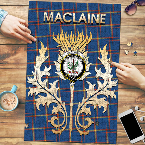 MacLaine of Loch Buie Hunting Ancient Clan Name Crest Tartan Thistle Scotland Jigsaw Puzzle