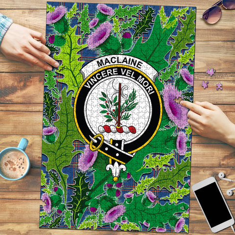 MacLaine of Loch Buie Hunting Ancient Clan Crest Tartan Thistle Pattern Scotland Jigsaw Puzzle
