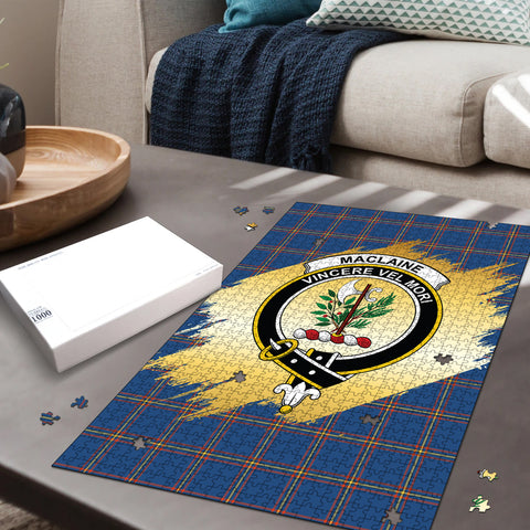 MacLaine of Loch Buie Hunting Ancient Clan Crest Tartan Jigsaw Puzzle Gold