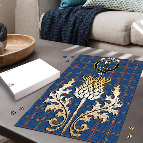 MacLaine of Loch Buie Hunting Ancient Clan Crest Tartan Thistle Gold Jigsaw Puzzle
