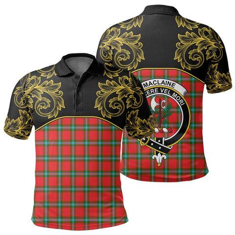 Image of MacLaine of Loch Buie Tartan Clan Crest Polo Shirt - Empire I - HJT4
