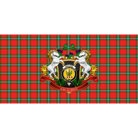 Image of MacLaine of Loch Buie Crest Tartan Tablecloth Unicorn Thistle A30