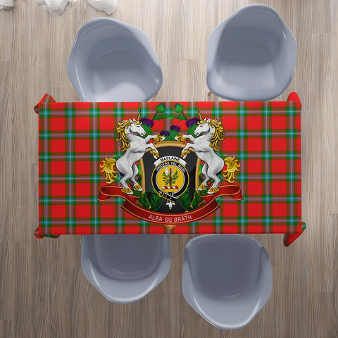 Image of MacLaine of Loch Buie Crest Tartan Tablecloth Unicorn Thistle | Home Decor
