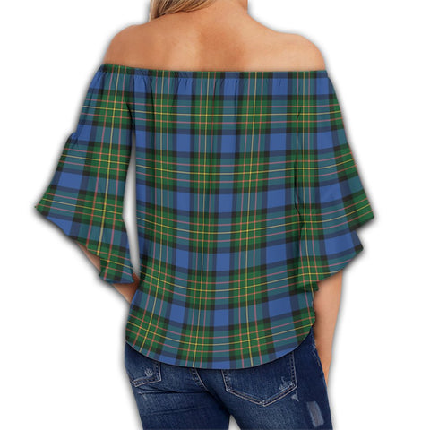 MacLaren Ancient Tartan Crest Off Shoulders Wrap Waist Top