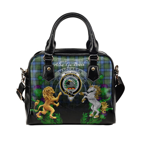 MacLaren Ancient Crest Tartan Lion Unicorn Thistle Shoulder Handbag