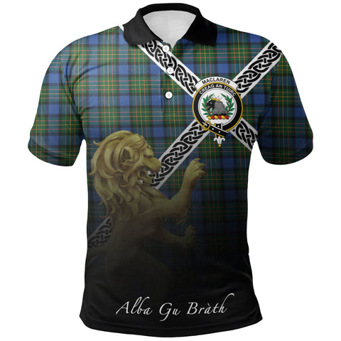 MacLaren Ancient Polo Shirts Tartan Crest Celtic Scotland Lion A30