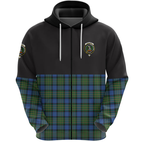 MacLaren Ancient Clan Zip Hoodie Half of Tartan
