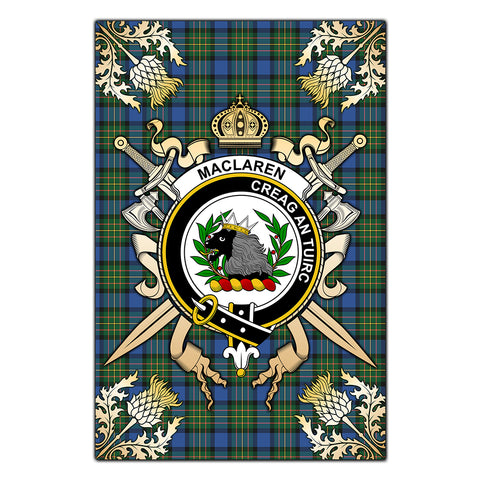 Garden Flag MacLaren Ancient Clan Crest Sword Gold Thistle