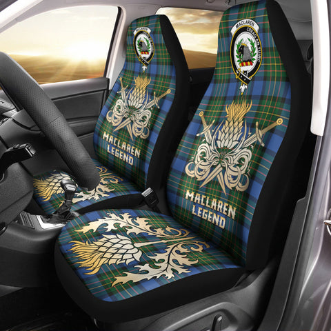 Car Seat Cover MacLaren Ancient Clan Crest Gold Thistle Courage Symbol