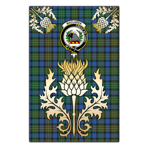Garden Flag MacLaren Ancient Clan Crest Gold Thistle