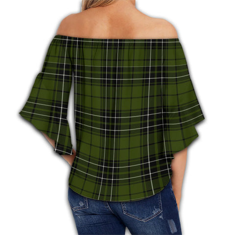 MacLean Hunting Tartan Crest Off Shoulders Wrap Waist Top