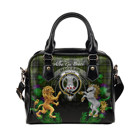 Image of MacLean Hunting Crest Tartan Lion Unicorn Thistle Shoulder Handbag