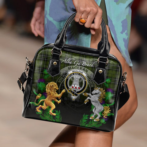 Image of MacLean Hunting Crest Tartan Lion Unicorn Thistle Shoulder Handbag A30