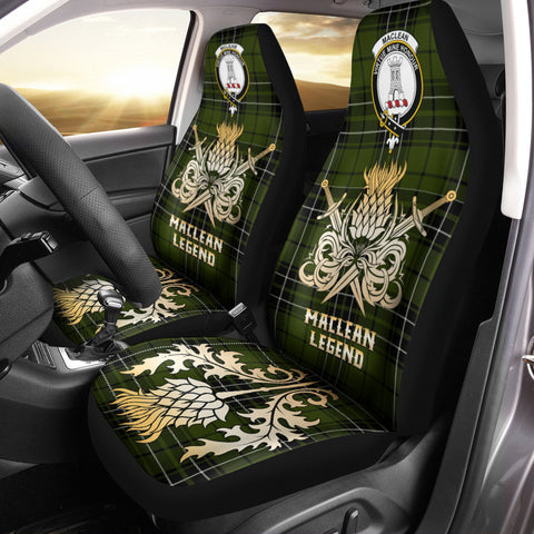 Image of Car Seat Cover MacLean Hunting Clan Crest Gold Thistle Courage Symbol