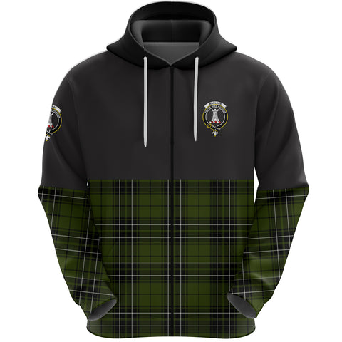 MacLean Hunting Clan Zip Hoodie Half of Tartan