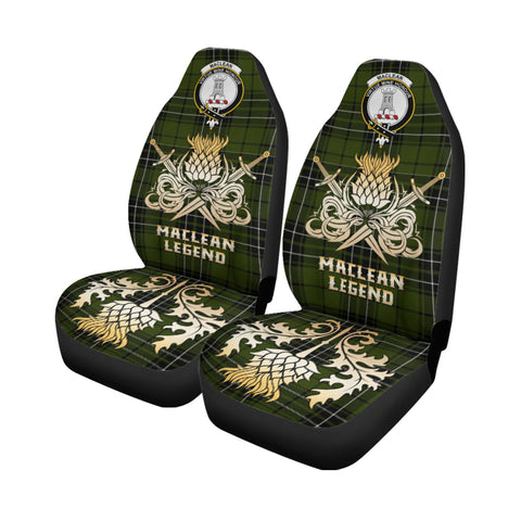 Car Seat Cover MacLean Hunting Clan Crest Gold Thistle Courage Symbol K9