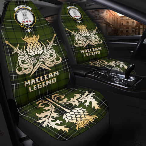 Image of Car Seat Cover MacLean Hunting Clan Crest Gold Thistle Courage Symbol K9