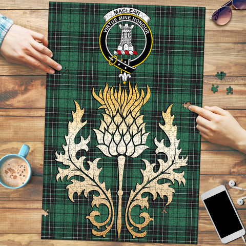 MacLean Hunting Ancient Clan Crest Tartan Thistle Gold Jigsaw Puzzle