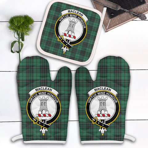 MacLean Hunting Ancient Clan Crest Tartan Scotland Oven Mitt And Pot-Holder (Set Of Two)