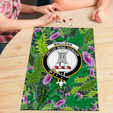 MacLean Hunting Ancient Clan Crest Tartan Thistle Pattern Scotland Jigsaw Puzzle