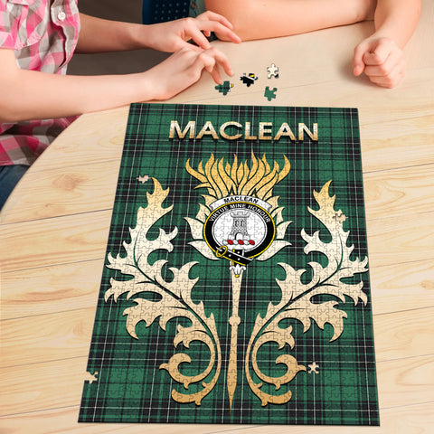 MacLean Hunting Ancient Clan Name Crest Tartan Thistle Scotland Jigsaw Puzzle