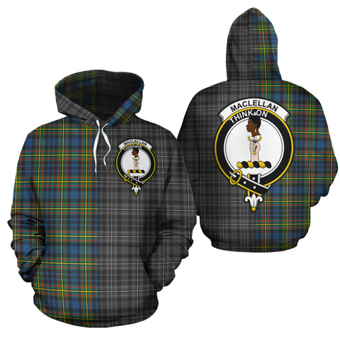 MacLellan Ancient Clan Half Of Me New Version Crest Tartan Hoodie