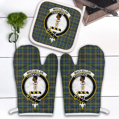 MacLellan Ancient Clan Crest Tartan Scotland Oven Mitt And Pot-Holder (Set Of Two)