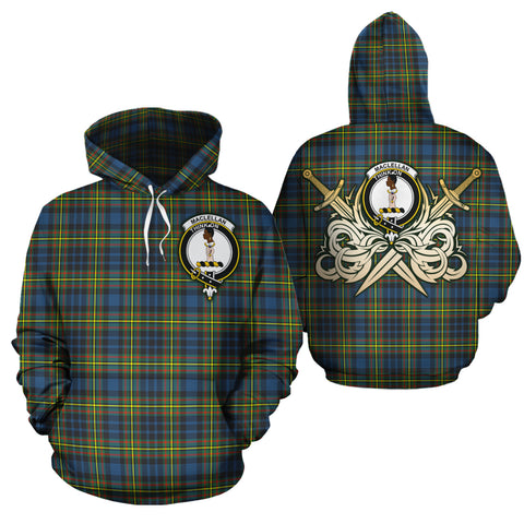 MacLellan Ancient Clan Crest Tartan Scottish Gold Thistle Hoodie