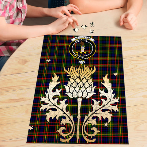 Image of MacLellan Modern Clan Crest Tartan Thistle Gold Jigsaw Puzzle