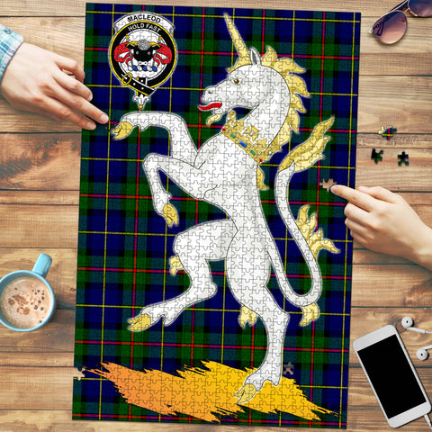 MacLeod of Harris Modern Clan Crest Tartan Unicorn Scotland Jigsaw Puzzle