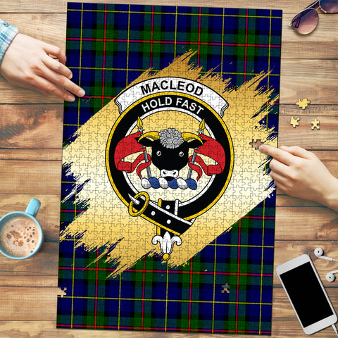 MacLeod of Harris Modern Clan Crest Tartan Jigsaw Puzzle Gold