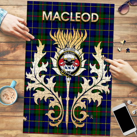 MacLeod of Harris Modern Clan Name Crest Tartan Thistle Scotland Jigsaw Puzzle