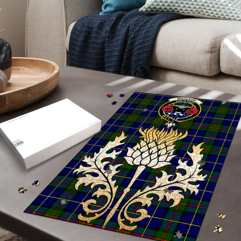 MacLeod of Harris Modern Clan Crest Tartan Thistle Gold Jigsaw Puzzle